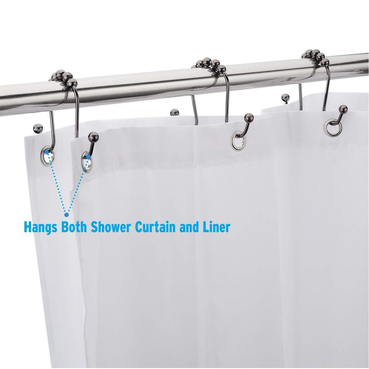 Amazer Shower Curtain Hooks Rust-Resistant Stainless Steel Double Glide Shower Hook Rings for Bathroom Shower Rod Curtains Gunmetal Color Bronze Set of 12 Hooks