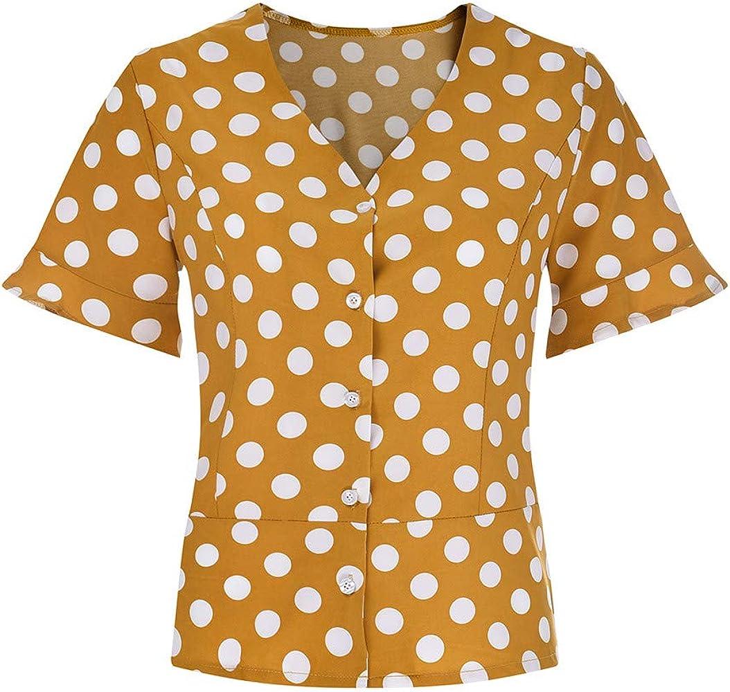 Qingsiy Blusa Lunares De Mujer De Verano Casual Lunares con Cuello En V Top Gasa De Campana Vintage Top De Mujer Solid Camisa Manga Larga Blusa Camisas con Volantes(Amarillo,S): Amazon.es: Ropa y
