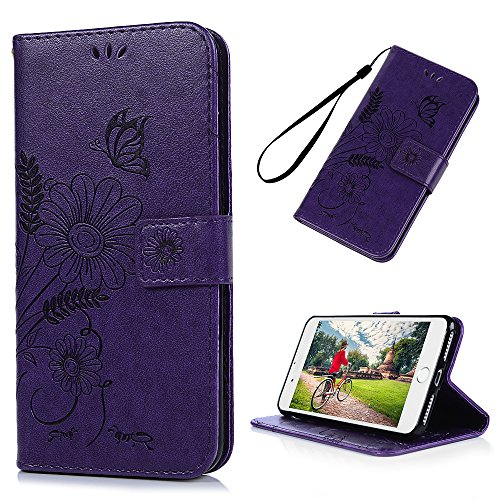for iPhone 8 Plus Wallet Case, iPhone 7 Plus Case, Embossed Ant Flower Flip Magnet Closure Premium PU Leather Soft TPU Inner Case Credit Card Slots Protective Cover with Dust Plug andamp; Pen, Purple