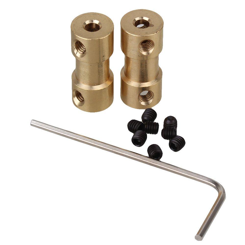 BQLZR connettore accoppiatore, accoppiamento albero motore 3x 4mm dorato, in ottone massiccio, flessibile, confezione da 2pezzi