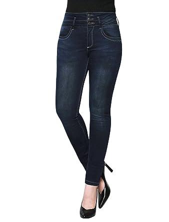 d56e26200da Allegra K Women s Three-Button Upper High-Waisted Skinny Jeans Blue-Washed  Denim