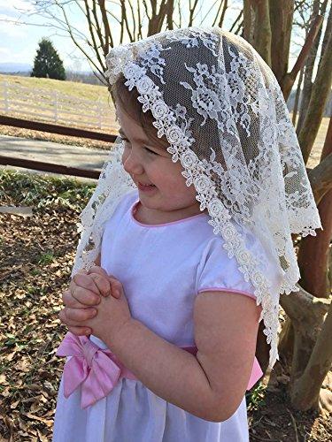 ivory-cream-childs-veil-lace-mantilla-catholic-church-headcovering-mass-small