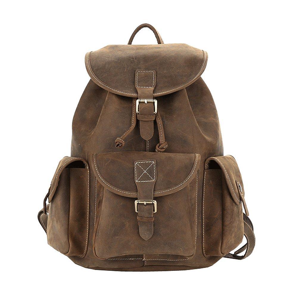 Paonies Men Bag Cowhide Leather Daypack Large School Backpack in Vintage Style