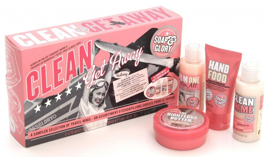Soap And Glory Clean Getaway Gift Set 4 Mini Best Sellers Inc Hand Food