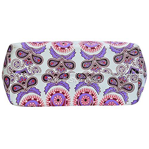 Ladies Tote Mandala Messenger Bag Mandala Womens Bag Bag Printed White Hand Ethnic Shoulder Tote Cotton Bohemian Purple fwqT0OxT
