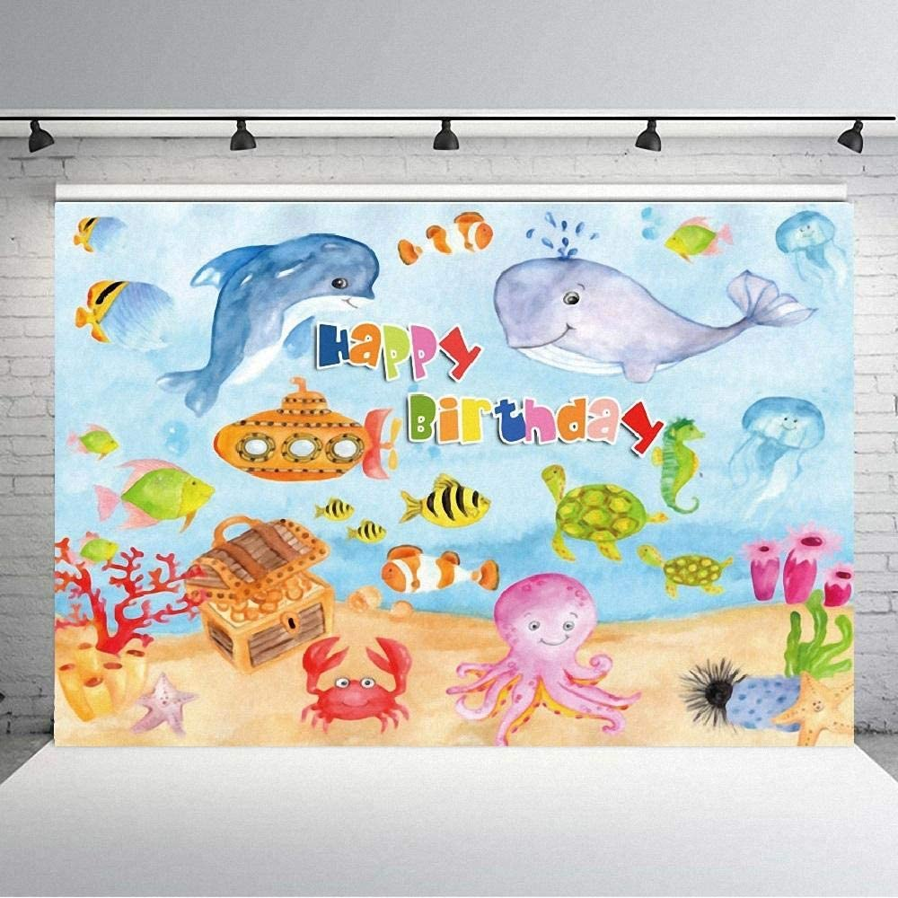 7X5ft Backdrops Watercolor Fish Jellyfish Happy Birthday Photography Background Cloth Birthday Party Baby Shower Newborn Photo Backdrop Cloth Photo Studio Take Pictures Background Backdrop