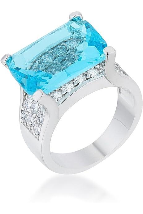 WildKlass Halo Style Princess Cut Aqua Blue Cocktail Ring