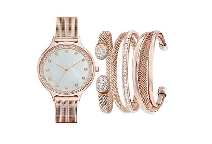 3f19fc7e9a8b Womens Jessica Carlyle Rose Gold Watch Set Bracelets ST2680RG735-524   Amazon.co.uk  Watches