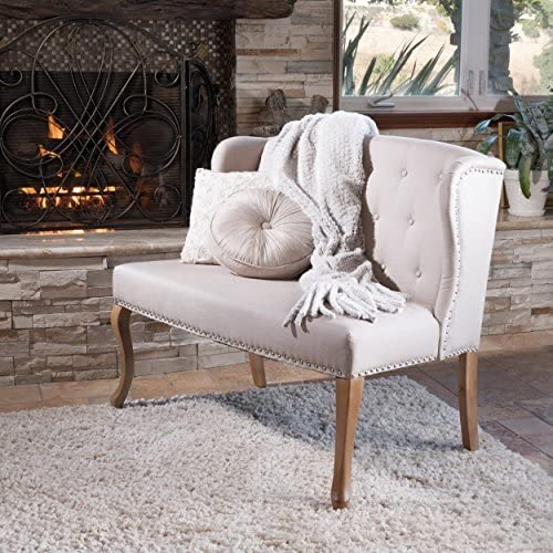 Christopher Knight Home Eva Natural Beige Tufted Fabric Loveseat