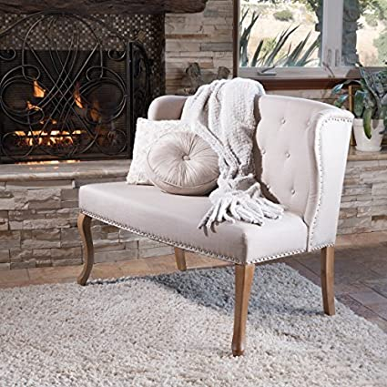 Delicieux Eva Natural Beige Tufted Fabric Loveseat