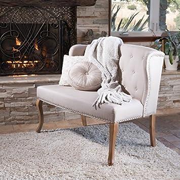 Great Deal Furniture 238516 Eva Natural Beige Tufted Fabric Loveseat