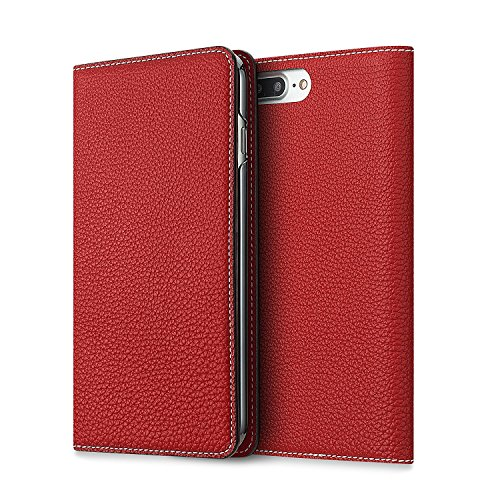 BONAVENTURA iPhone 7 Plus / 8 Plus Leather Wallet Case (Beautiful European Full-Grain Leather) | BONAVENTURA Folio Flip Leather Cover Case [iPhone 7 Plus / 8 Plus | RED] by BONAVENTURA