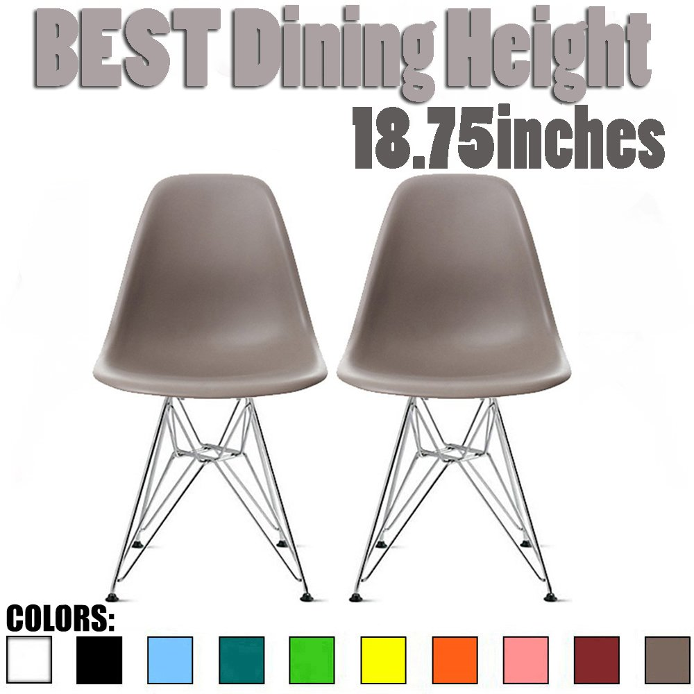 2xhome - Set of Two (2) Grey / Taupe - Eames Side Chair Eames Chair Grey Seat Chrome Metal Legs Eiffel Dining Room Chairs No Arm Arms Armless Molded Plastic Seat Dowel Leg Wood