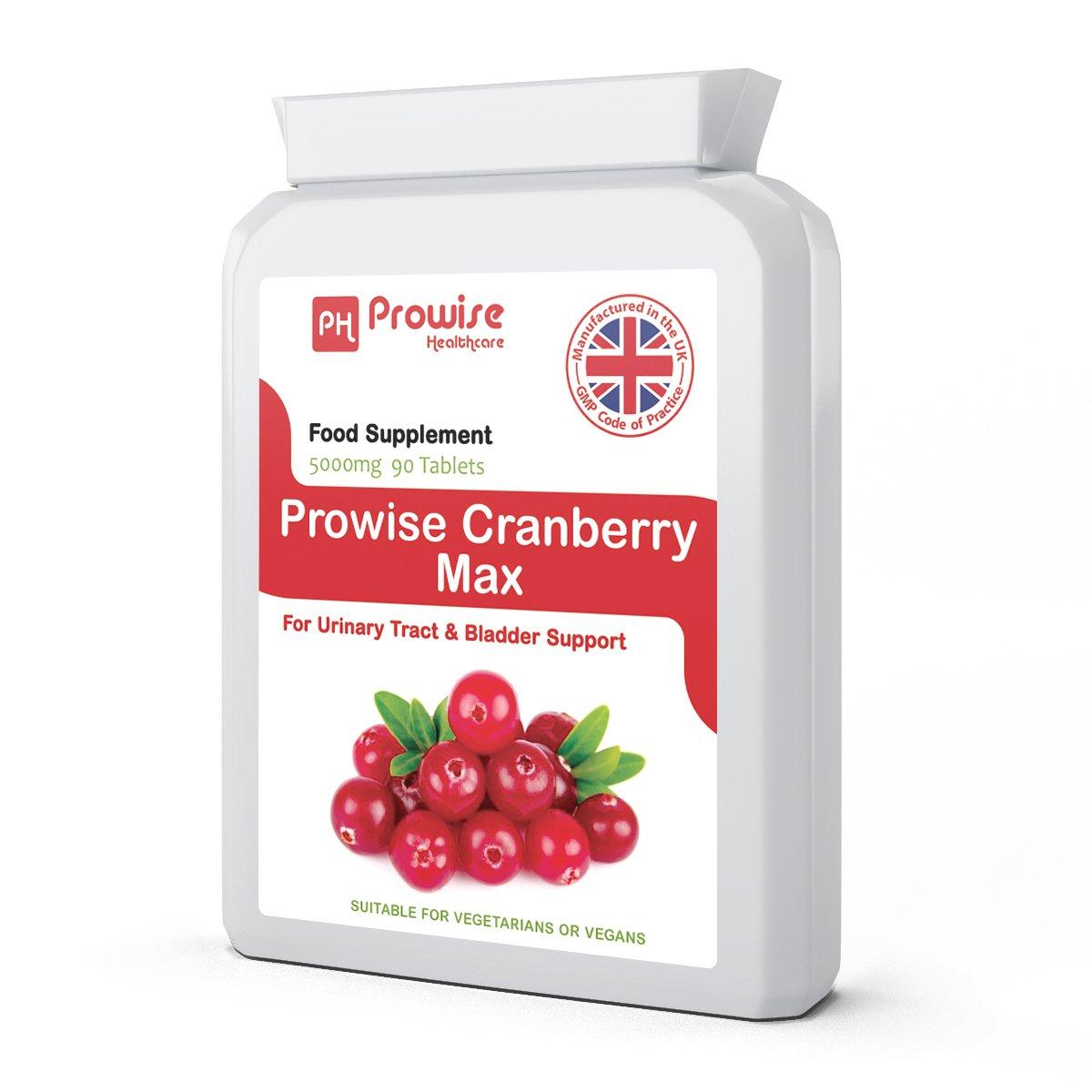 Prowise Cranberry 5000mg 90 comprimidos - Suplemento diario de alta resistencia - Reino Unido fabricado a GMP Calidad garantizada - Apto para vegetarianos y ...