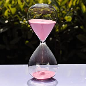 Large Fashion Colorful Sand Glass Sandglass Hourglass Timer Clear Smooth Glass Measures 60min 60 Minutes Home Desk Decor Xmas Birthday Gift (Pink, 60 Minutes)