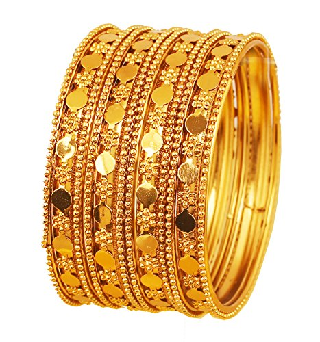Touchstone New Golden Bangle Collection Indian Bollywood Floral Work and Beaten Metal Designer Jewelry B Angle Bracelets. Set of 12. in Antique Gold Tone for Women.
