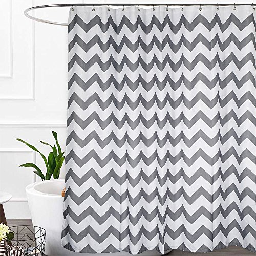 Haperlare Chevron Shower Curtain, Waterproof Grey Fabric Shower Curtain for Bathroom, Striped Shower Curtain with Rustproof Grommets, 72