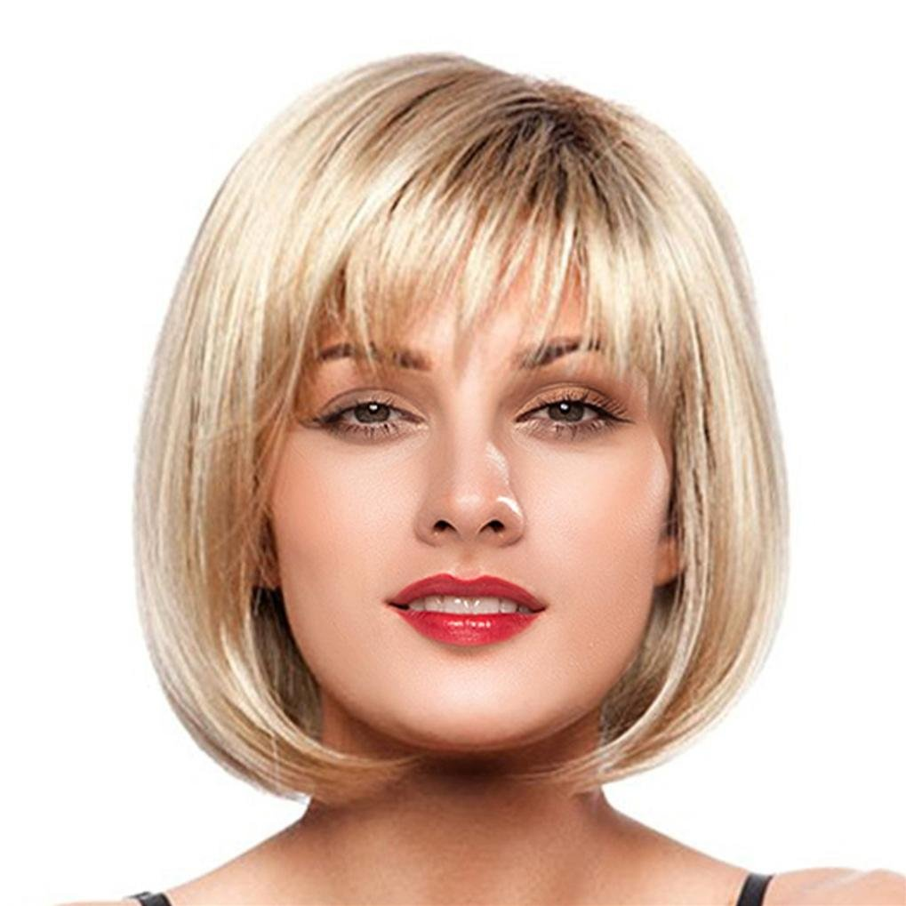 Suppion Women Short Straight Blonde Full Bangs Bob Hairstyle Synthetic Hair Full Wig (Gold)