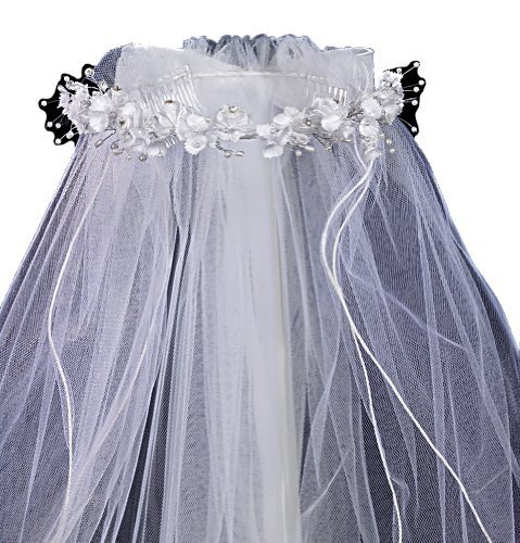 Veil with Satin Corded Flowers with Rhinestone Accents by Lito
