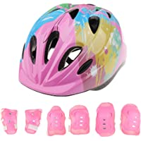 Segolike 7 Pieces Kids Children Roller Skating Bicycle Cycling Scooter Helmet Knee Elbow Pad Wrist Guard Set Pink Blue Red - pink