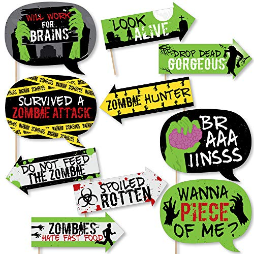 Funny Zombie Zone - Halloween or Birthday Zombie Crawl Party Photo Booth Props Kit - 10 Piece for $<!--$14.99-->