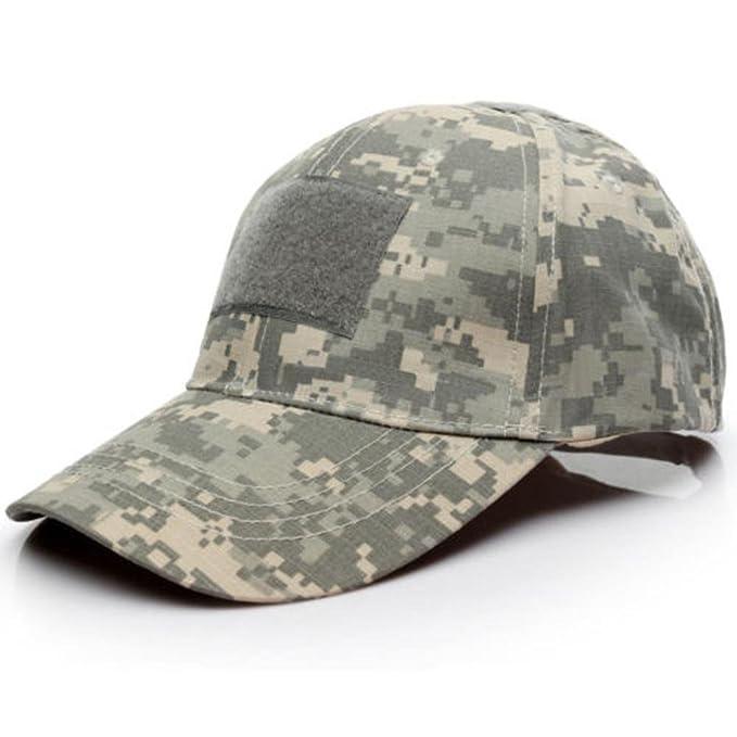 Malloom Unisex Hombres Mujeres Sombrero Gorro Camuflaje Selva Beisbol Ejército Caza Visera Sombrero Sol al Aire Libre Deporte con Velcro (Camuflaje 1#): ...