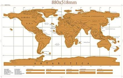 Pkfinrd Mapa de Scratch Mapa Cero, Mapa del Mundo Registro Pared rasguño de su Viaje, calcomanías de Pared for el Sitio de diseño de los niños for la Educación, 11: Amazon.es: Hogar