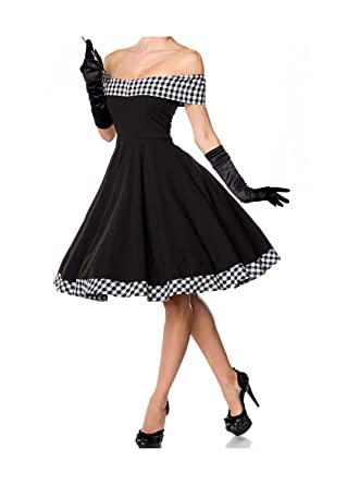 Belsira Damen schulterfreies Swing-Kleid im Retro-Style  Amazon.de   Bekleidung cf551504c9