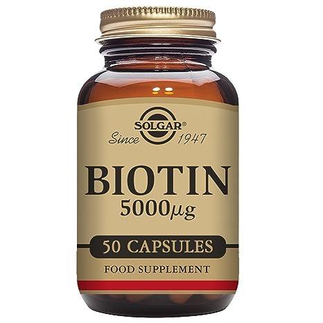 Solgar Biotin Vegetable Capsules, 5000 mcg, 50 Count