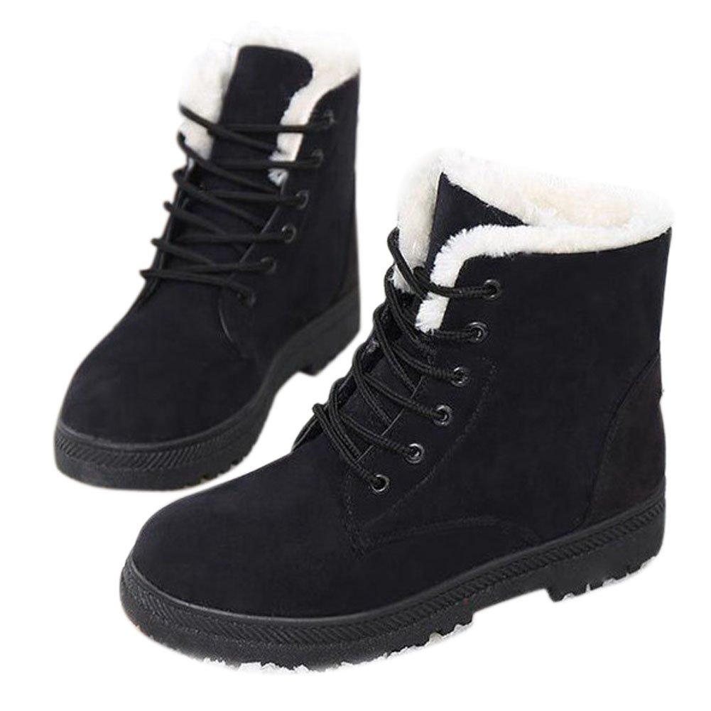 Alicegana Women Boots Ankle Platform Cotton Warm Fur Snow Boots Winter Lace Up Flat Booties Cute Plus Size Comfortable Shoes