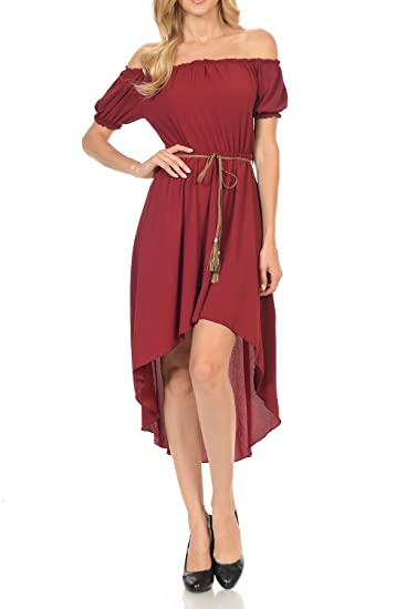 0cdd8ed3f20 Auliné Collection Women s Long Strapless High Low Off Shoulder Ruffle Dress  Burgundy Small
