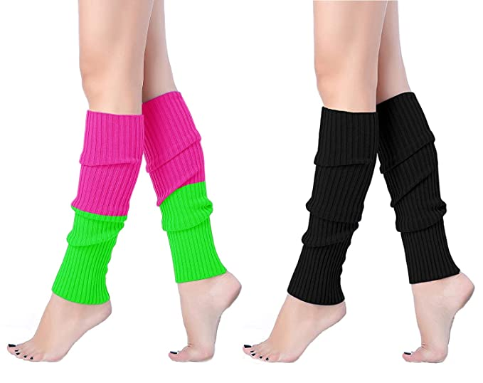 d894ccf89e771 V28 Women Winter 80s Eighty's Warm Costume Marathon Knit Long Socks Leg  Warmers (2 P