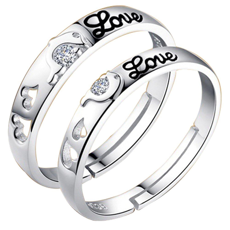 19 Likes SILVER brass Couple ring for Men & Women: Adiva: Amazon ...