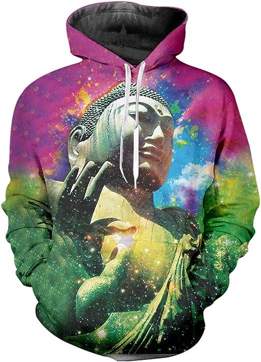 Hoodies Adult Hot Long Loose 3D Printed Buddha Hip Hop Hoodies Sweatshirts