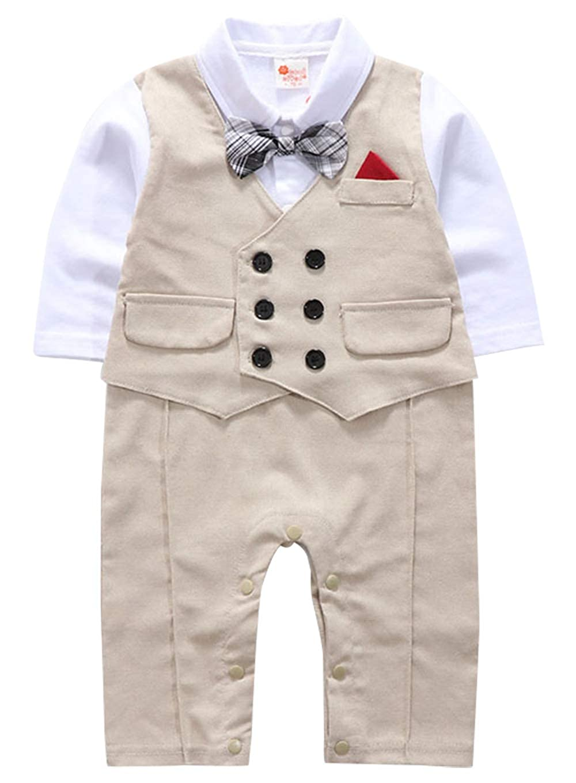 Baby Infant Toddle Gentlemans Romper Bowtied Waistcoat Jumpsuit Baptism Wedding Clothes for 3-18 Months Boy Grey Khaki