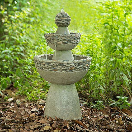 Peaktop - Outdoor Water Fountain, Garden Majestic Zen 3 Tier Stone-Like Finish Waterfall Fountain, 36