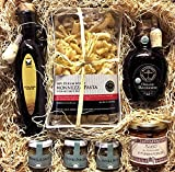 Traditional Italian Gift Box with Olive Oil, Aged Balsamic Vinegar, Pasta, Fennel Seeds, Fennel Pollen, Fennel Salt, and Sugo Al Pomodoro E Funghi Porcini Pasta Sauce Gourmet Food Gift Basket