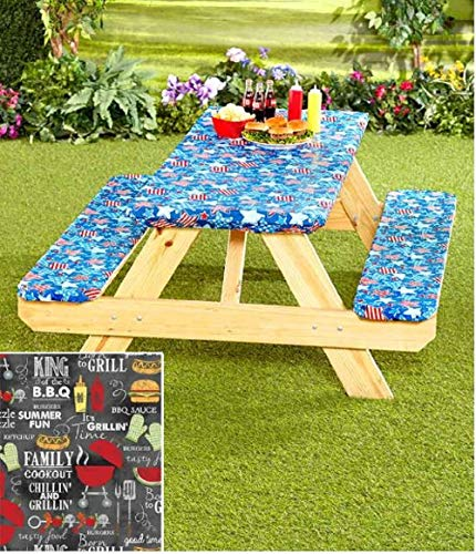 242 & 3 Piece Fitted Picnic Table \u0026 Bench Seat Cover Set GRILL KING Elastic Fit Patio Tablecloth