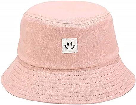 Oferta amazon: Sombrero de cubo de playa sombrero de sol plegable de algodón pescador al aire libre gorra encantadora cara sonriente bombardero sombreros para mujeres hombres niño niña