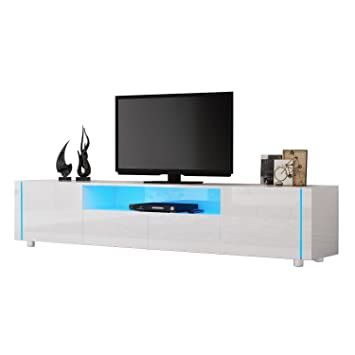 Tv Cabinet Hst Mall Modern High Gloss White Tv Unit Amazoncouk
