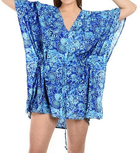 La Leela Bikini Strand verschleiern Tunika Badeanzug Bademode Badebekleidung Kaftan Kleid blau oben
