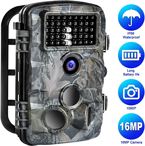Trail Game Camera,16MP 1080P Trail Camera IP66 Waterproof 42pcs IR LED Night Vision Hunting Scouting Cam Motion Activated with 120 Detecting Range for Outdoor Wildlife Watching