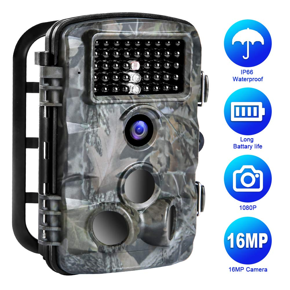 Trail Game Camera, 16MP 1080P Trail Camera IP66 Waterproof 42pcs IR LED Night Vision Hunting Scouting Cam Motion Activated with 120 Detecting Range for Outdoor Wildlife Watching