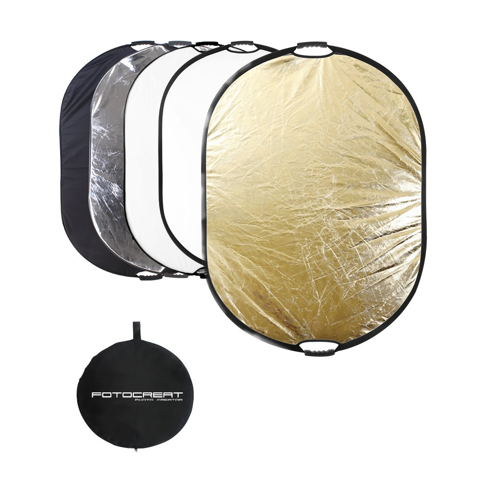 FOTOCREAT 5-in-1 Oval 60''×80''(150×200cm) Professional Collapsible Multi-Disc Light Reflector with Handles with Translucent, Silver, Black, Gold, White Surface for Photography Photo Studio by FOTOCREAT