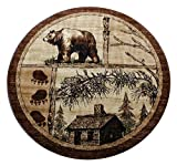 Lodge Cabin Bear Round Area Rug (4 Feet X 4 Feet) Round