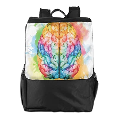 Newfood Ss Vibrant Colorful Human Brain Body Neurology Hemispheres Creative Intelligence Outdoor Travel Backpack Bag For Men And Women