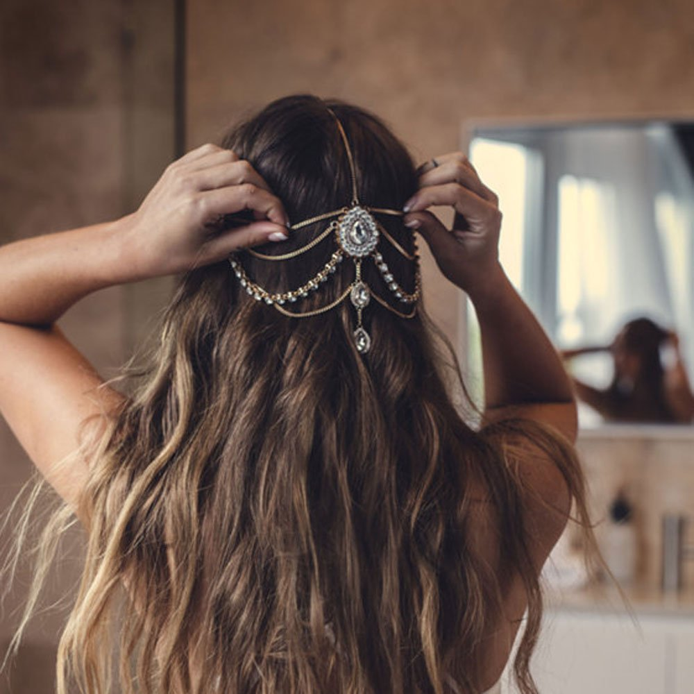 FXmimior Head Chain Bridal Women Vintage Bohemian Crystal Halloween Headpiece Wedding Hair Jewelry (gold)