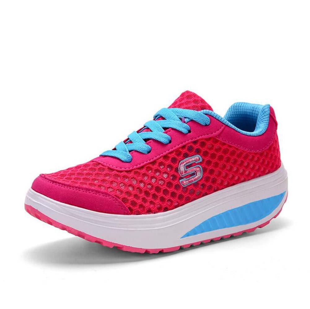 Zapatos atléticos Casuales para Mujeres Zapatos de Balancín Transpirables Zapatos Deportivos de Primavera y Verano Zapatos de Suela Gruesa Coreana Talla 35-40 MYI
