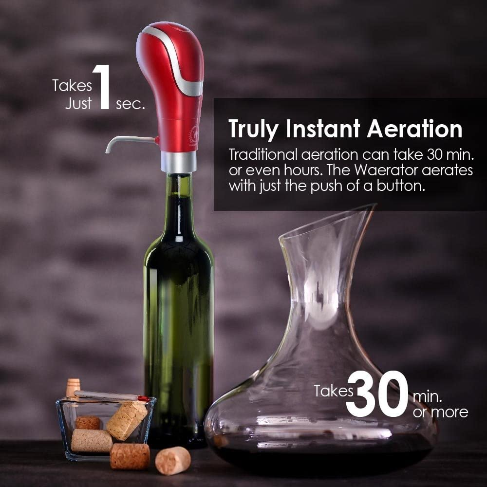 WAERATOR Instant 1-Button Electric Aeration and Decanter Wine Pourers Red