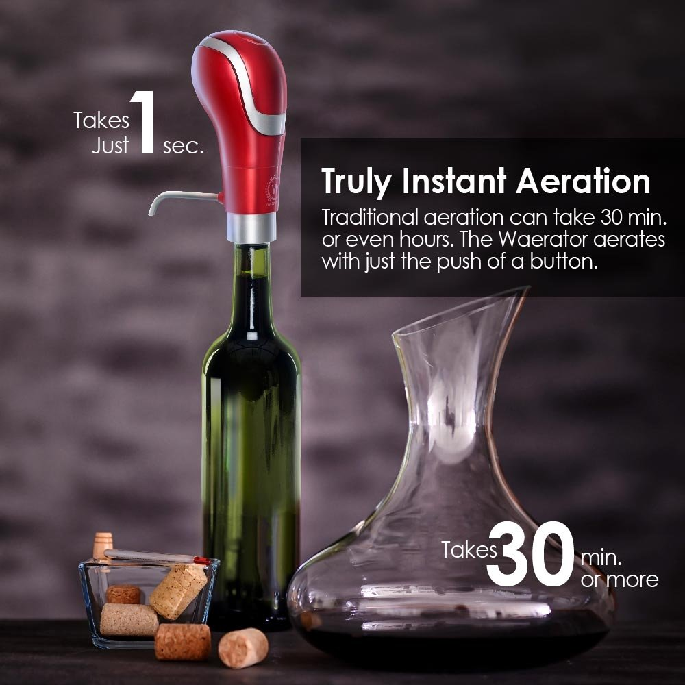 WAERATOR WA-A01-BK Instant 1-Button Electric Aeration and Decanter Wine Pourers, Portable, Black by WAERATOR (Image #2)